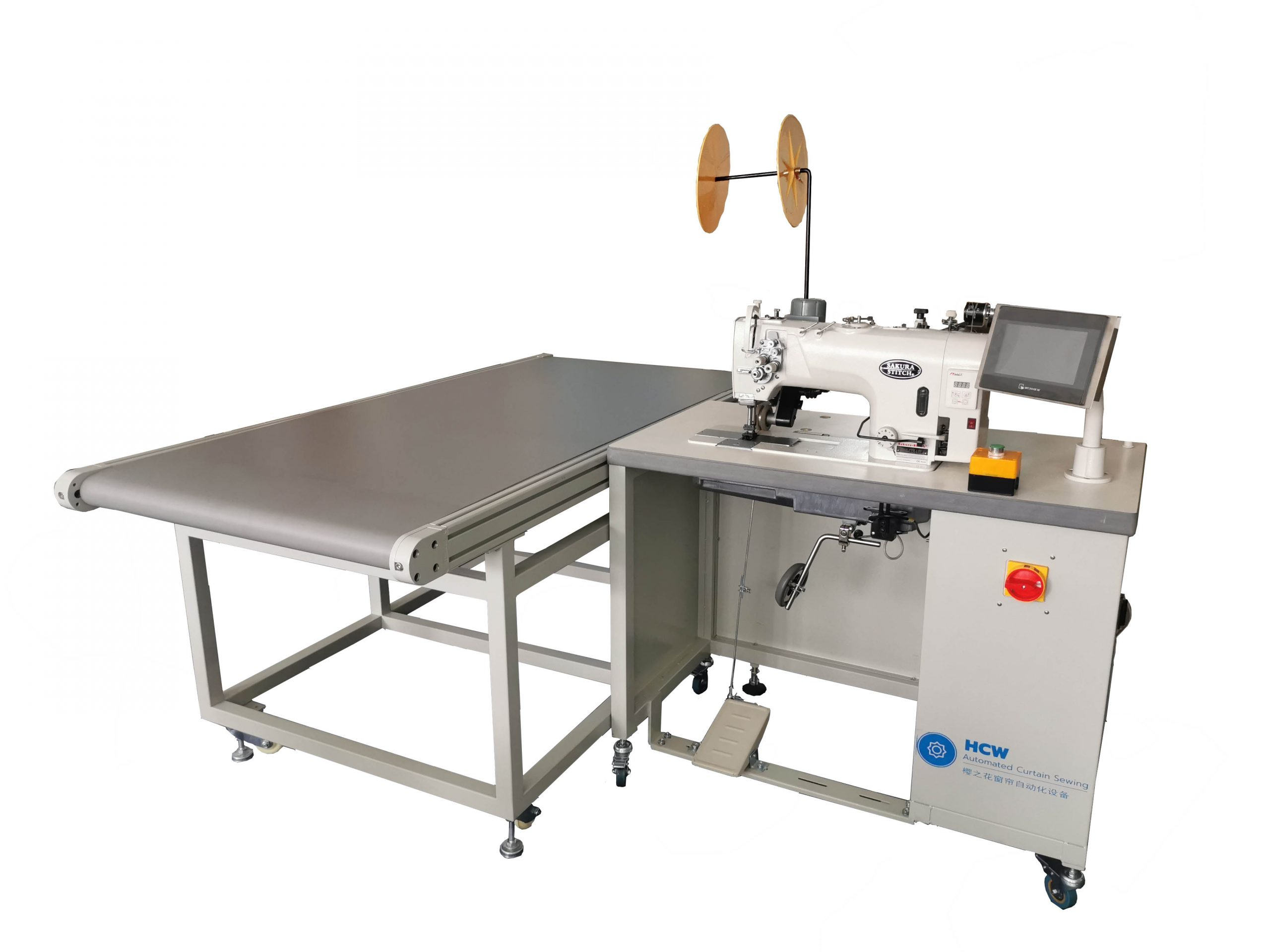 Double Needle Curtain Hemming and Tape Attaching with Conveyor Workstation
