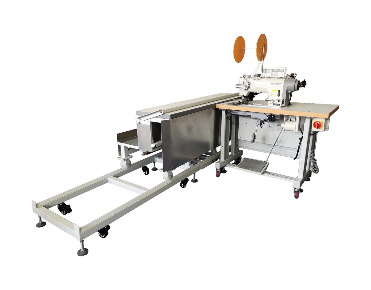 Double Needle Curtain Hemming and Tape Attaching with Moving Platform Workstation