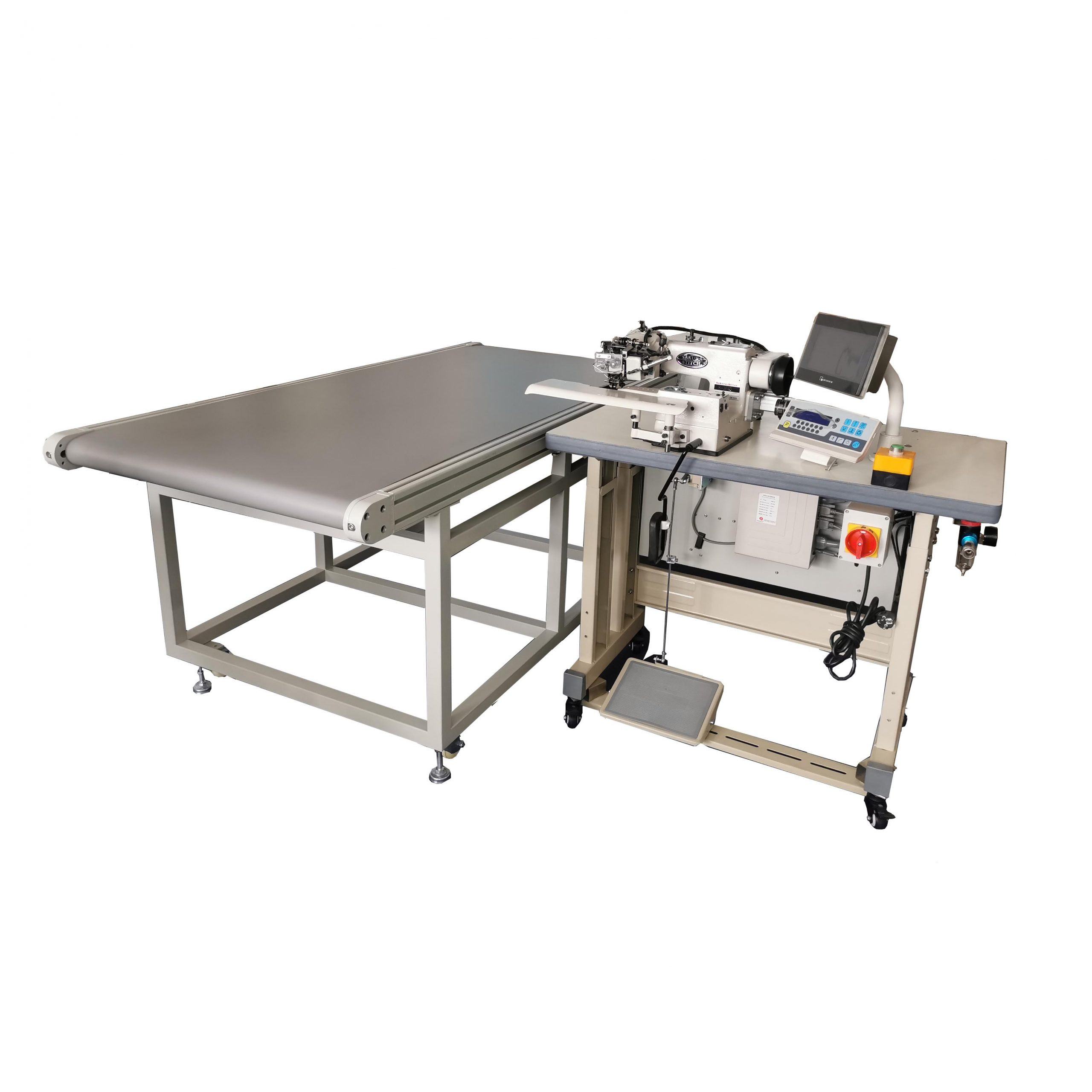 Curtain Blindstitch Hemming with Conveyor Workstation