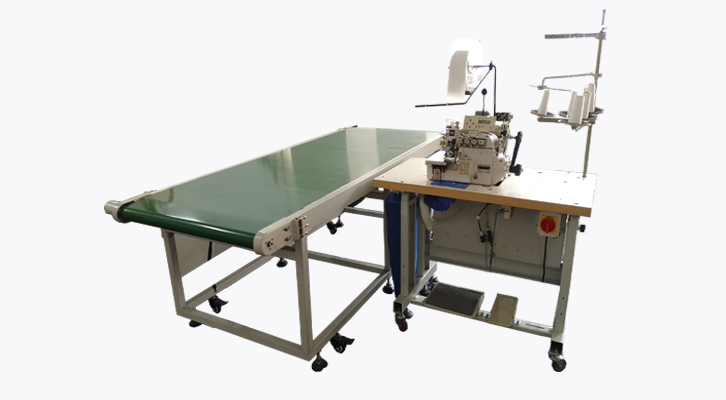 Overlock Curtain Edge Lining Attaching with Conveyor Workstation